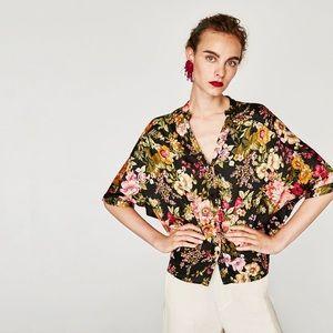 Zara Flowing Floral Blouse